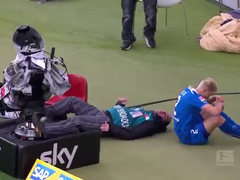 Ouch!-Cameraman-Knocked-Out