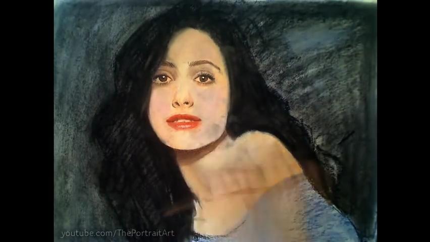 Drawing Emmy Rossum - Color Pastel Portrait Time-lapse.mp4_000092025